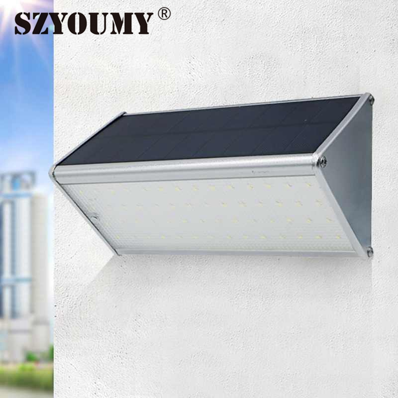 SZYOUMY 56LED Aluminum Solar Wall Lamp PIR Motion Sensor Solar Light With Microwave Radar Sensor For Outdoor Garden Yard