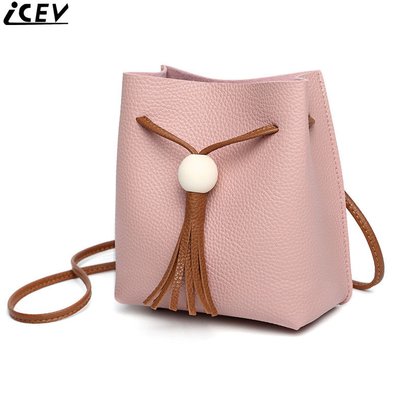 ICEV new soft pu leather mini bucket hand bag tassel ladies shoulder bag solid small crossbody bags handbags women famous brands 2017 fashion bucket women messenger bag solid tassel pu leather ladies small crossbody bags women brand designer shoulder bags
