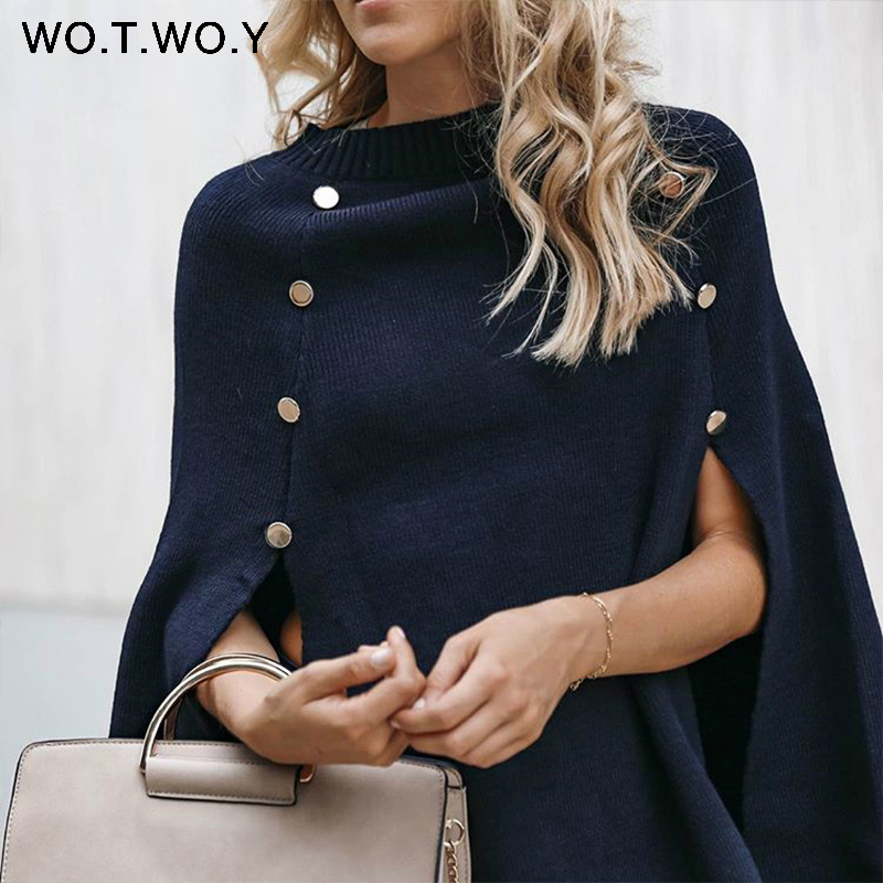 WOTWOY 2020 Knitted Cloak Sweater Women Casual Loose Shawl Autumn Winter Streetwear Poncho Women Sweater And Pullovers Plus Size