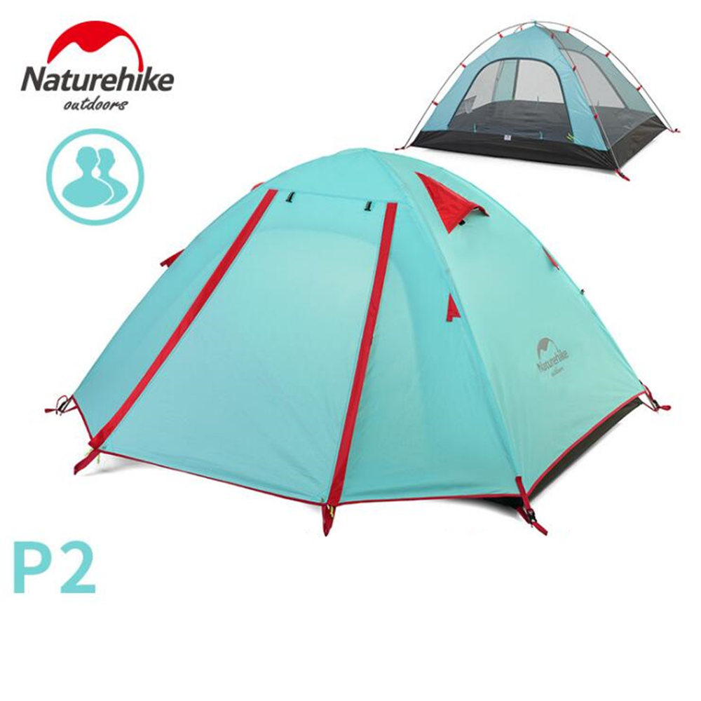 NatureHike 2 Person Tent Double Layer Outdoor Camping Hiking Hike Travel Play Tent Aluminum Pole camping tent outdoor camping double aluminum pole tent camping family clear inflatable tent camping shelter personalized canopy
