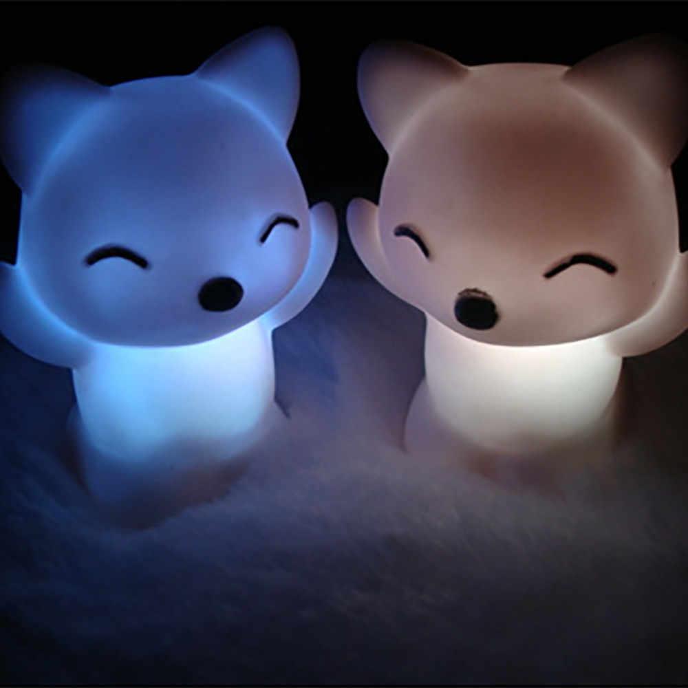 Lumière LED bouton batterie décoration de la maison 7 couleurs changeantes belle forme de renard LED veilleuse 0.654