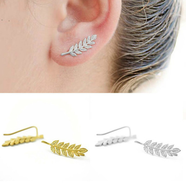 Vintage Design Jewelry Exquisite Gold Colour Leaves Studs Earrings Modern Beautiful For Women Simple Metal