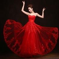 Robe de Soiree Longue Sexy Backless Red Long Lace Evening Dress 2016 Appliques Tulle Evening Gown Abendkleider Vestido de Festa