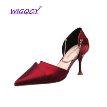 Pointed pumps sandals 2019 Autumn Summer shoes women Fashion Thin Heels High heels Sweet Chain Patchwork Slip-On female