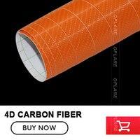 5x91FT Orange Carbon Fiber Fibre Best Choice For One Car Wraps Super Real 4D Carbon Car