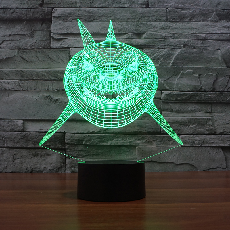 Christmas Lights Shark Tank: LED Awesome Shark Lamp 7 Changing Colors 3d Illusion Night