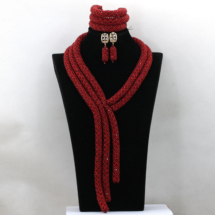 Luxury Wine Red Nigerian Wedding Beads Jewelry Set for Brides Party Crystal Braid Women Necklace Set Gifts Free Shipping QW340Luxury Wine Red Nigerian Wedding Beads Jewelry Set for Brides Party Crystal Braid Women Necklace Set Gifts Free Shipping QW340