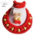 Nigerian Wedding African Beads Bridal Costume Jewelry Sets Coral Color Crystal Beaded laanc AL033
