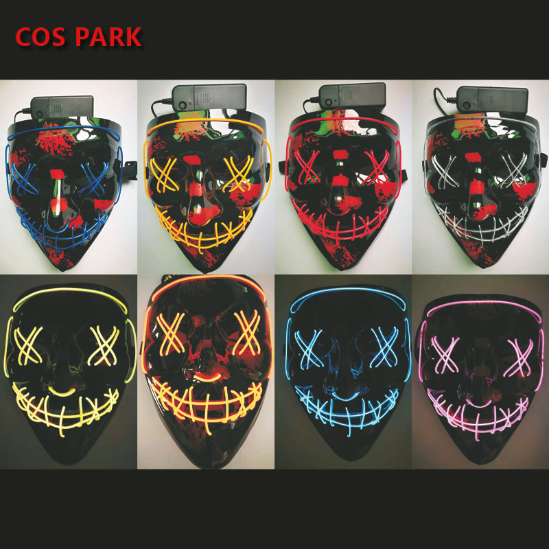 Halloween Mask EL Wire LED Scary Mask for Festival Parties Costume, Fakes Masquerades Light up V Mask