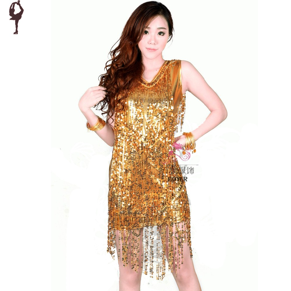 Popular Gold Sequin Dance Dress-Buy Cheap Gold Sequin Dance Dress ...