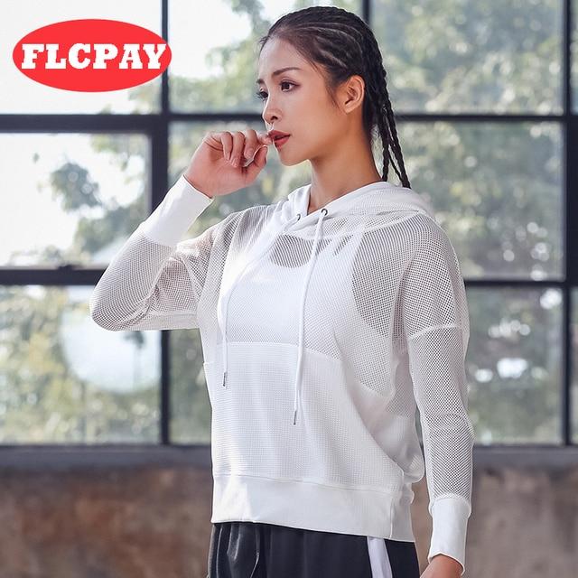 Chaqueta deportiva sexi para mujer entrenamiento ejercicio Fitness  chaquetas de secado rápido malla Yago deporte suéter b6d0328f23315