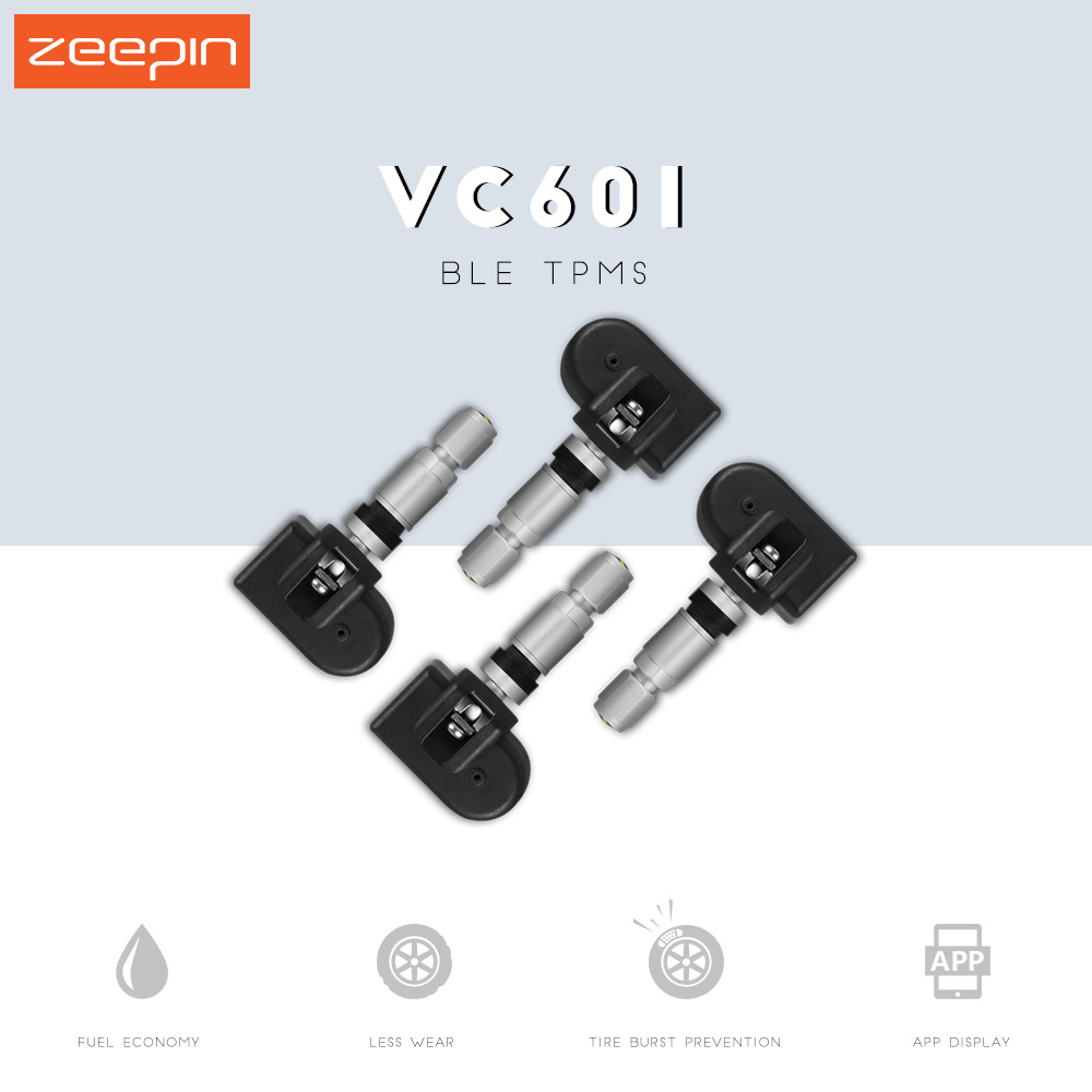 ZEEPIN VC601 BLE TPMS Car Tire Pressure Waterproof Alarm Monitor System with 4 Internal Sensors Display on APP Directly