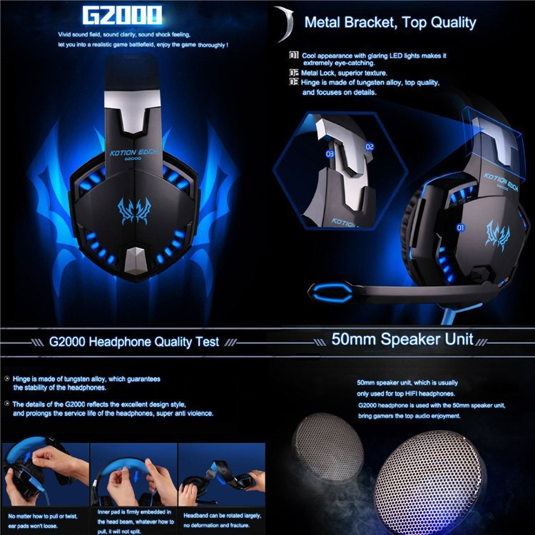 Anti-noise Dazzle Lights Hifi Stereo Gaming Headset For PC Gamer Bests Glow Headphones With Microphone USB+3.5mm Audio Cable (2)