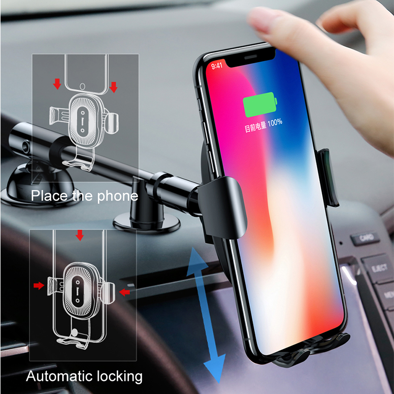 Baseus Qi Wireless Charger Car Phone Holder for iPhone XS Mount Holder Fast Wireless Charging for Car Mobile Phone Holder Stand 1