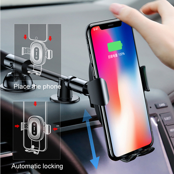 Baseus QI Wireless Charger Car Phone Holder for iPhone 8 Mount Holder Fast Wireless Charging for Car Mobile Phone Holder Stand 1