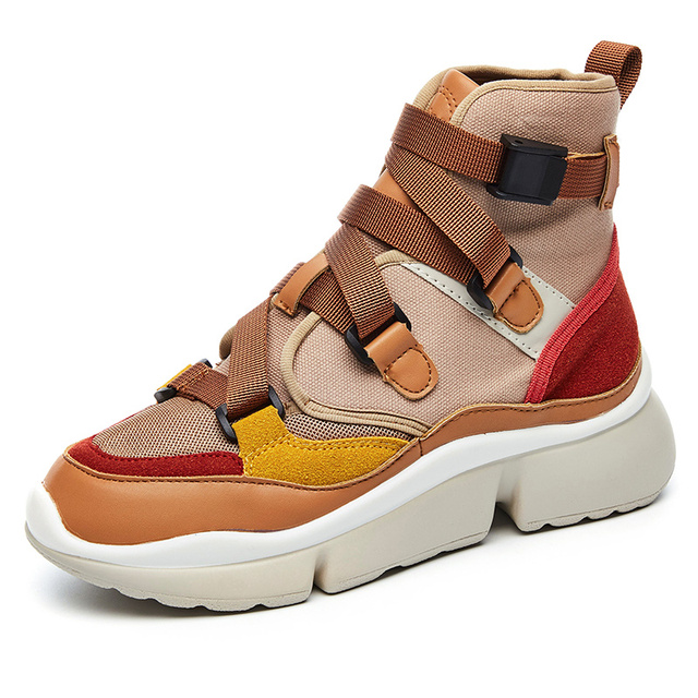 Женские спортивные туфли на толстой подошве увеличение 2018 Новая мода коричневый анти-скользкие дышащая кожа кроссовки zapatillas hombre