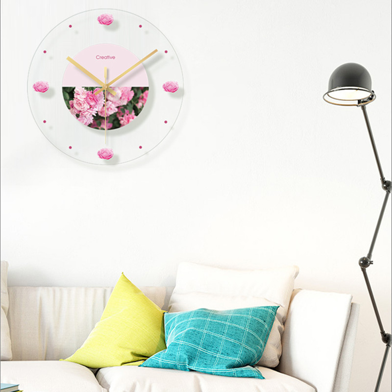 Green plant flower decoration wall hanging room clock (5)