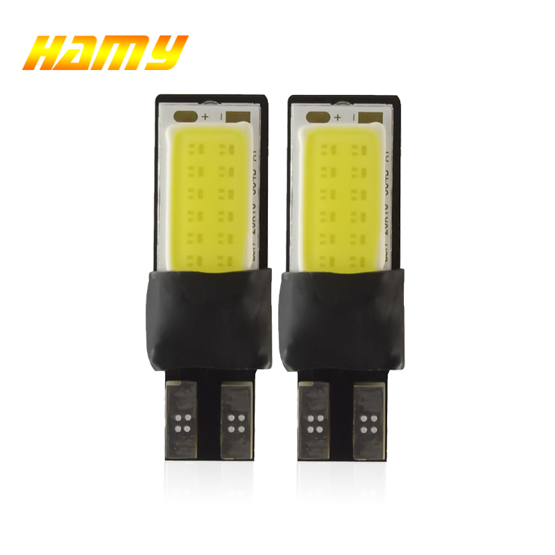2x Car T10 W5W LED Signal Bulb COB Canbus Auto Interior Dome Reading Lamp Super Bright Wedge Side License Plate Trunk Lamp 12V