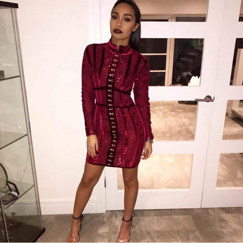 2017 New Spring Wine Red Elegant Heavy Workmanship Floral Beads Long Sleeves Celebrity Party Style Wholesale Women Bandage Dress