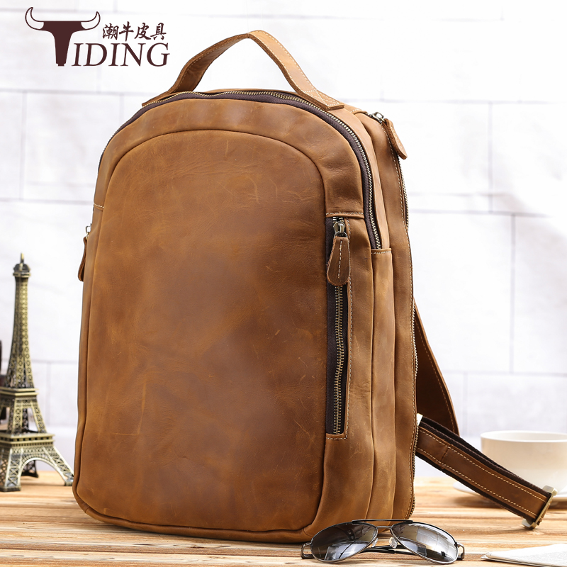 все цены на men genuine leather backpack 2017 new european fashion brand man casual vintage cow leather travel backpack bags preppy style
