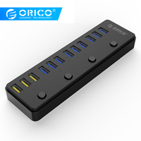 ORICO 60W 12 Port USB 3.0 Hub With Switch including 3 BC1.2 Charging Port 5Gbps High Speed Data Transmission USB Docking Station