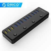 ORICO 60W 12 ports USB 3.0 Hub avec interrupteur dont 3 Port de charge BC1.2 5Gbps Transmission de données haute vitesse Station d'accueil USB