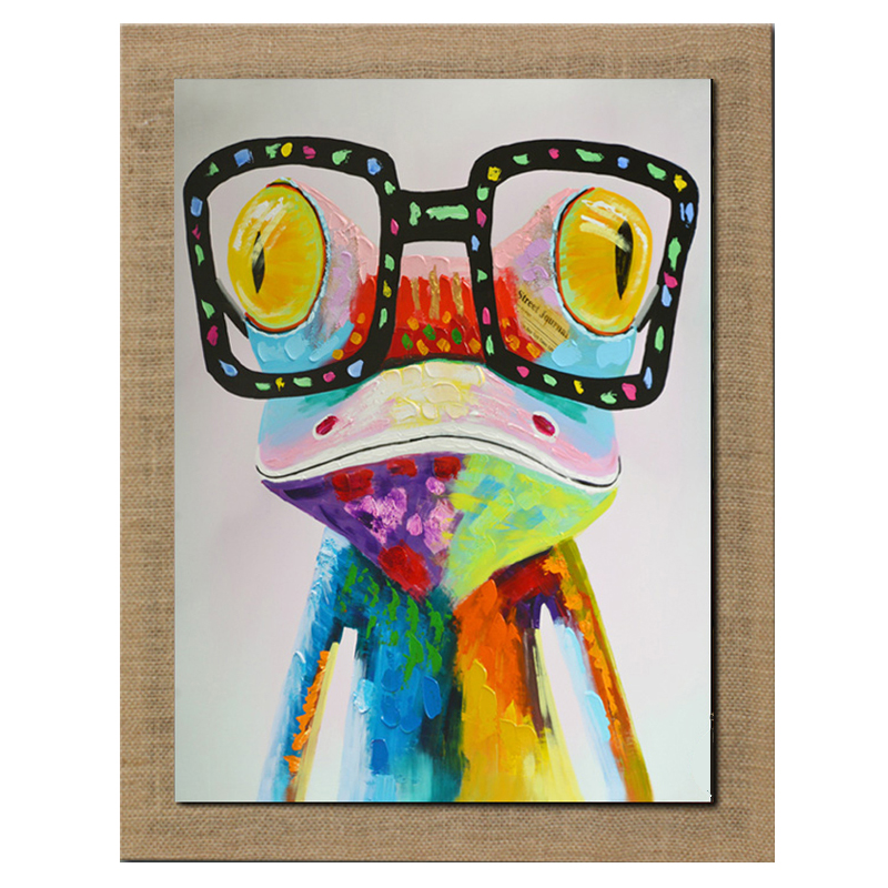 High Skills Artist 100% Hand-painted Frog  Oil Painting On  Linen With Frame Handmade Abstract Painting For Office Decoration