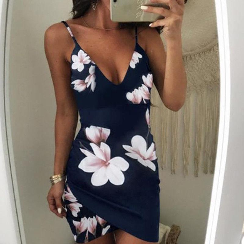 HTB1aNHVteySBuNjy1zdq6xPxFXaq - Fashion Sexy Summer Evening Party Women Ladies Sleeveless V-Neck Ruched Floral Print High Waist Skinny Mini Dress 2 Colors