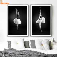 Ballet Girl Wall Art Canvas Painting Nordic Poster And Print Black White Canvas Art Nursery Wall Picture For Living Room Decor cartoon rocket blast off nursery canvas painting universe black and white art nordic scandinavian poster print kids room decor