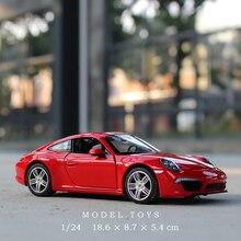1:24 סימולציה סגסוגת מכונית ספורט דגם עבור Porscheed 911 עם היגוי גלגל קדמי שליטת גלגל הגה צעצוע לילדים