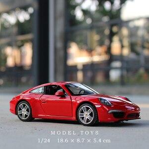 Image 1 - 1:24 סימולציה סגסוגת מכונית ספורט דגם עבור Porscheed 911 עם היגוי גלגל קדמי שליטת גלגל הגה צעצוע לילדים