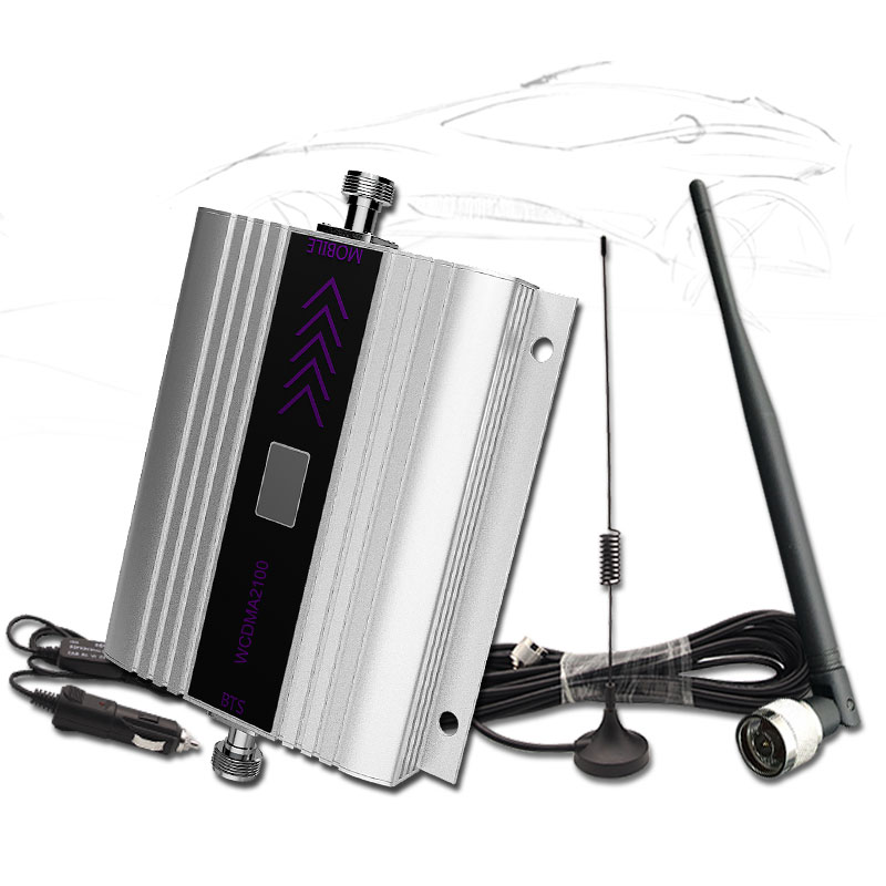 Cellular Signal Booster Car Cell Phone 3G Amplifier UMTS WCDMA 2100MHz Band1 LCD Display With Whip Antenna For Vehicle Use -