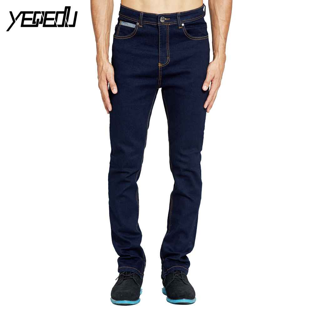 #2111 2018 Dark blue Bottom side zipper Fashion Stretch Skinny jeans Mens jogger jeans Hip hop Motorcycle jeans hombre Denim