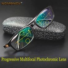 8a643c7542 Gafas de lectura fotocrómicas multifocales graduales de diseñador montura  hecha a mano gafas negras ver cerca y lejos añadir + 1.