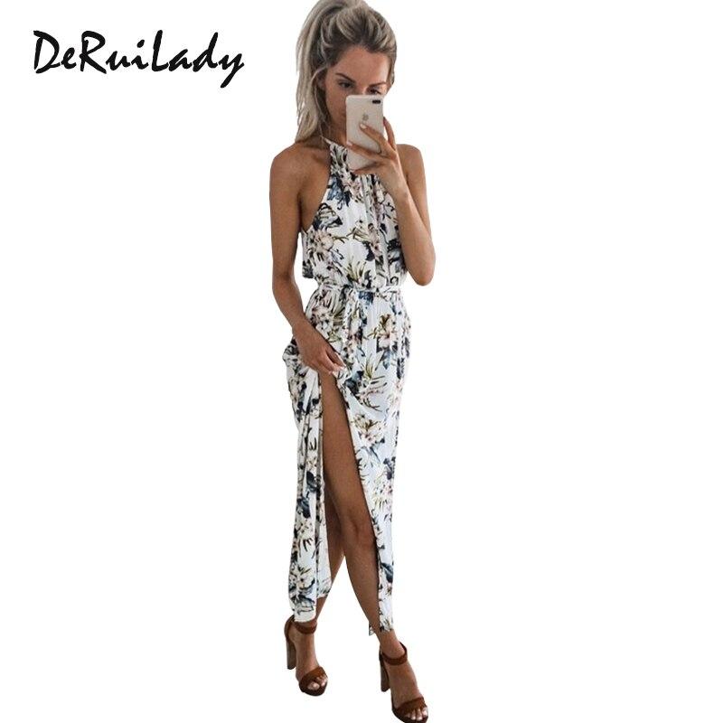 Buy DeRuiLaDy Sexy Sleeveless Summer Beach Maxi Dresses Womens Boho Floral Print Halter Long Dress Women Casual Vestidos Femme Dress