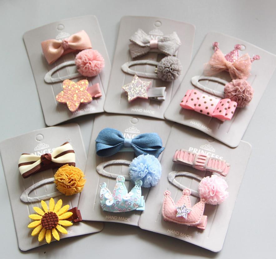 3Pcs/set  kids flora ball hair clip Baby Headdress Girls bowknot Hairpins Children Hair Accessories J40