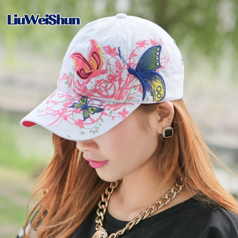 [LWS] Lady baseball Cap hat hip-hop Fashion Butterfly and flowers embroidery cotton cap Summer hats for women Snapback Caps Bone