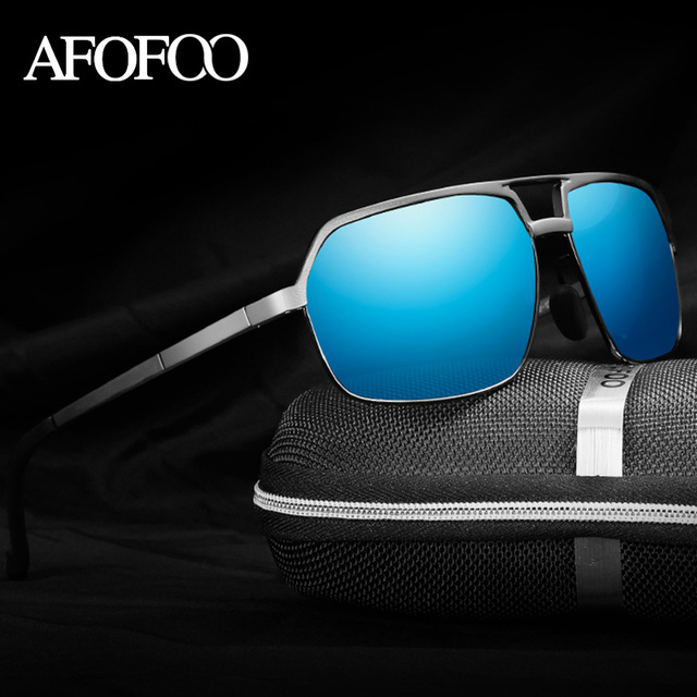 AFOFOO Aluminum Magnesium Men's HD Polarized Sunglasses Brand Square Men Driving  Mirror Sun glasses Male UV400 Shades Eyewear