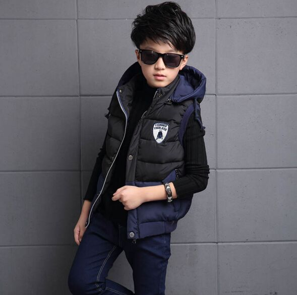 ФОТО New Winter 2016 Vests for Children Kids Boys Thickened Thermal Boy Baby With A Removable Cap Cotton Fashion Boy Zipper Hooded