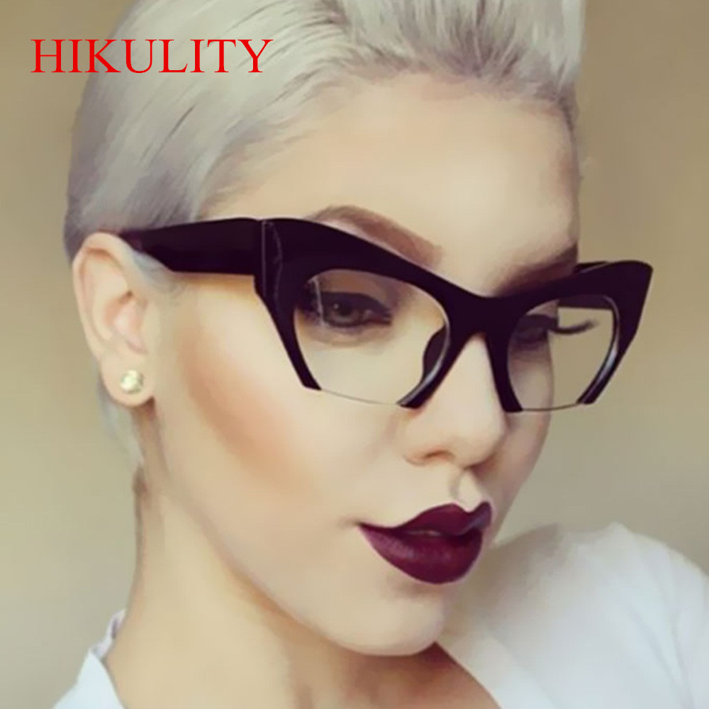 Half Frame Black Clear Sunglasses Women 2017 Sexy Cat Eye -3329