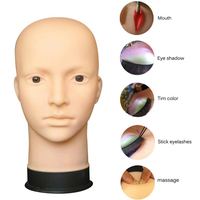 NEW High Quality Soft Model Silicone Head Mannequin Flat Head Practice Make Up Massage Training Model