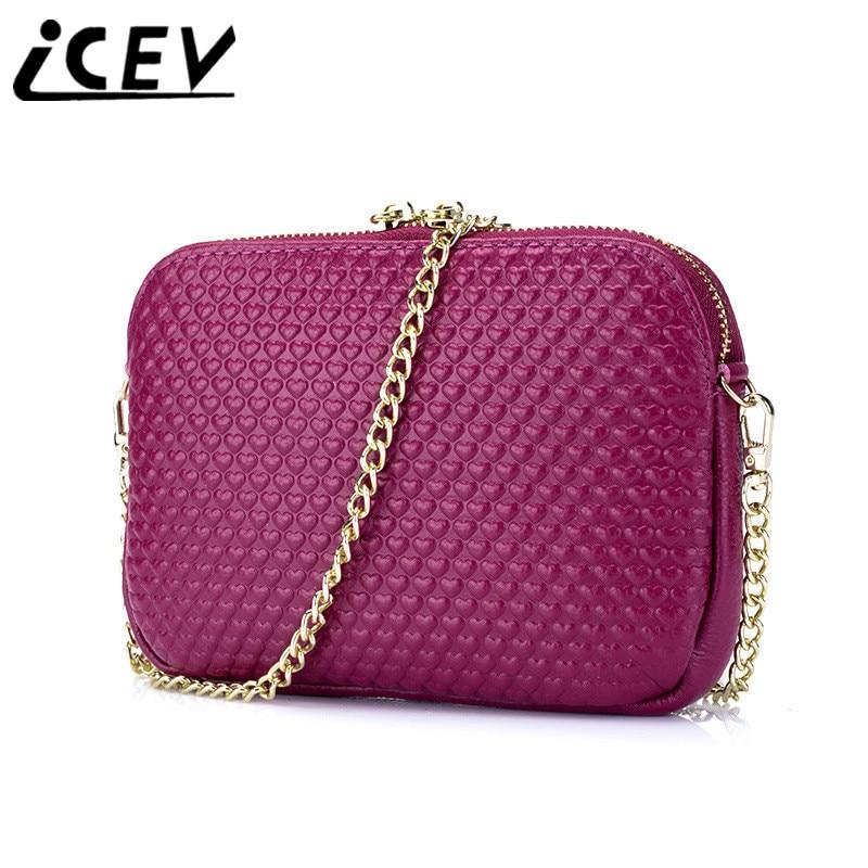 ICEV New Fashion Cute Mini Cross Body Bags Ladies Genuine Leather Handbag High Quality Women Messenger Bags Ladies Shoulder Sac