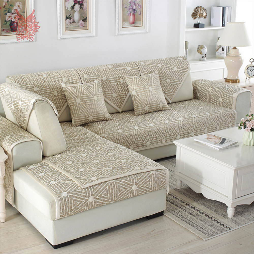 European pink grey geometric quilted sofa cover cotton linen ...