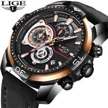 2019 LIGE Mens Watches Top Brand Luxury Business Leather Quartz Watch Men Military Waterproof Sport Wristwatch Relogio Masculino
