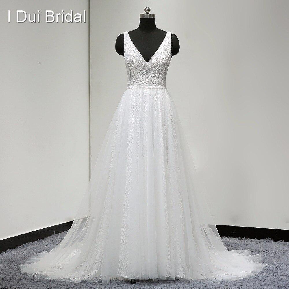 Boho Свадебные платья Vestido De Noiva настоящая фотография V шеи линии пикантные богемные пляжные ELS0001 Прямая поставка свадебное платье