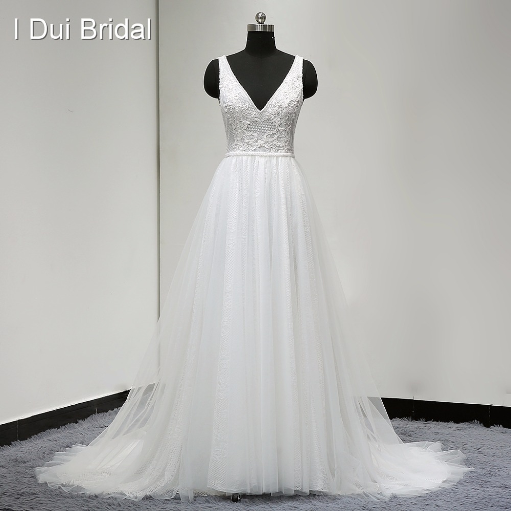 Boho Brautkleider Vestido De Noiva Real Photo V Neck Eine Linie Sexy