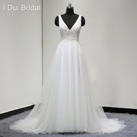 Deep V Neck Unique Lace Beaded Wedding Dresses Real Photo Bridal Gown A Line Sexy Bohemia