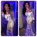 Por Encargo Sexy Sheer Opacidad Lace Prom Vestidos de Cuello Barco Manga Larga de La Sirena de Largo Prom Party Dress Vestido de Noche