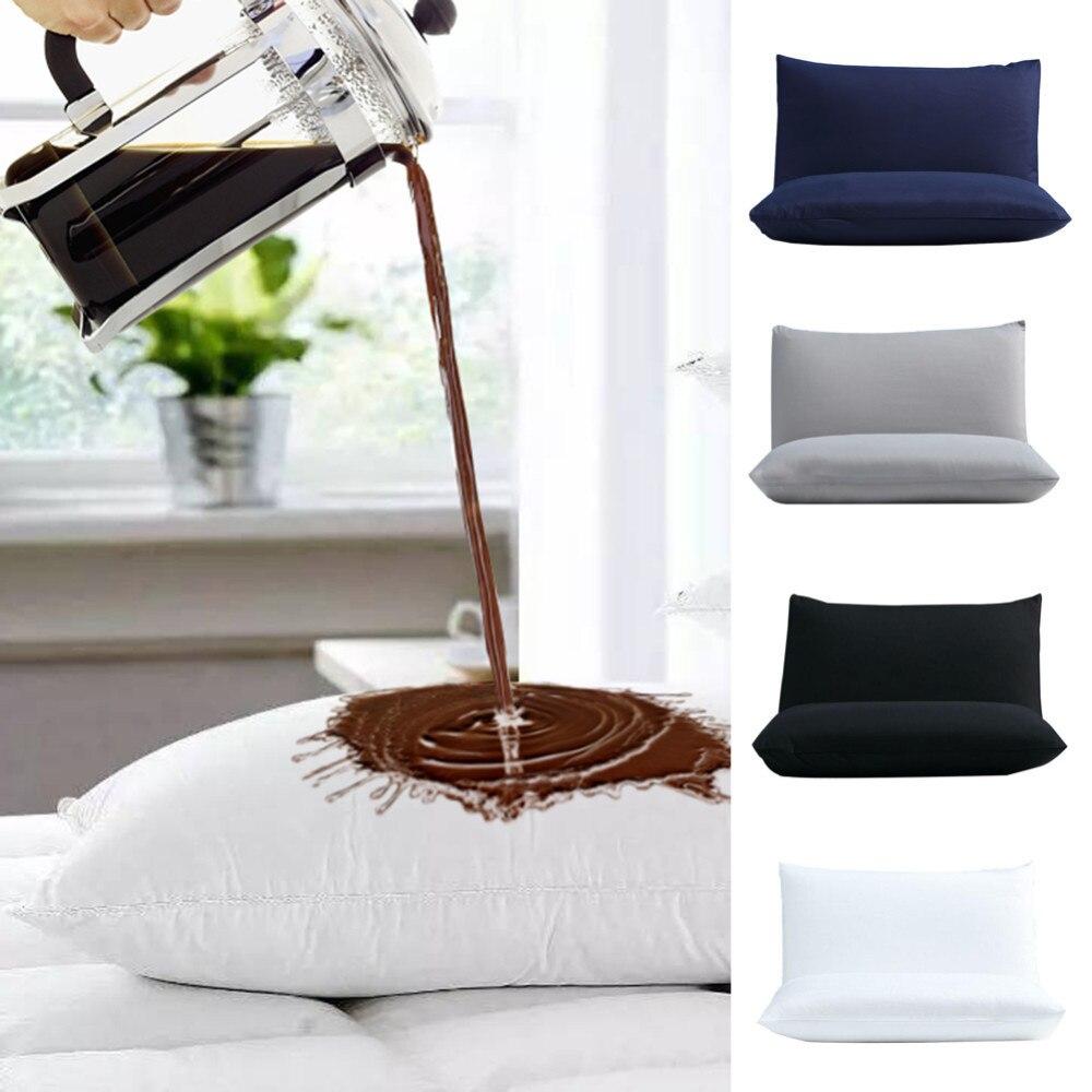 2pcs/set 50X70CM Waterproof Pillow Protector Pillowcase Anti Mites Bed Bug Proof Zipper Pillow Cover Allergy Pilows Bedroom B4