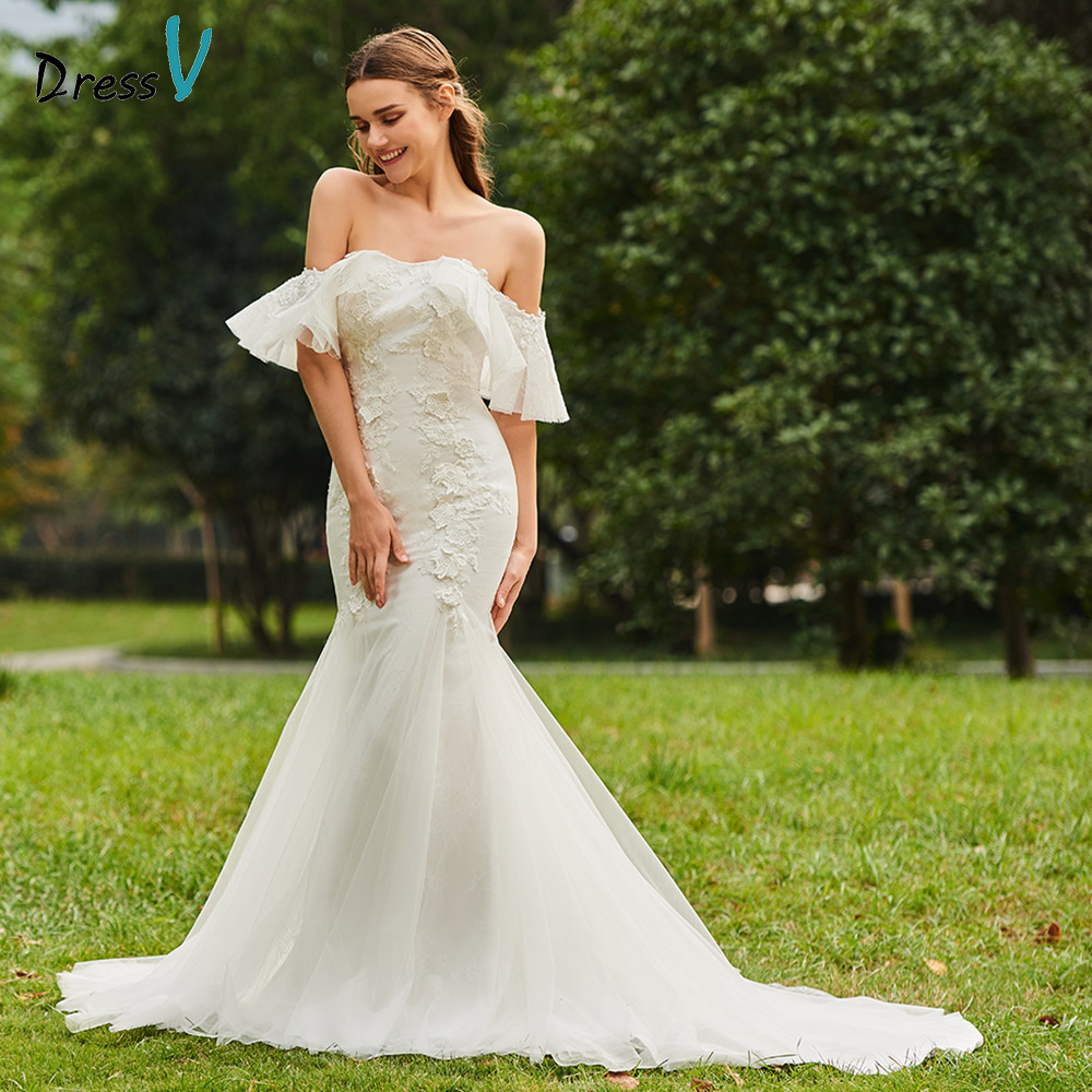 Dressv ivory wedding dress strapless sweep train half sleeves bridal mermaid elegant outdoor&church lace trumpet wedding dresses